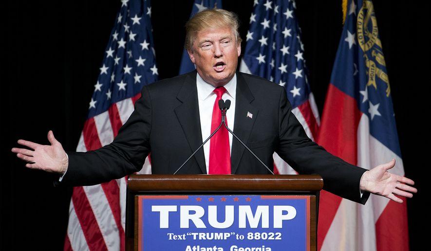 Republican presidential candidate Donald Trump speaks at a campaign event Sunday, Feb. 21, 2016, in Atlanta. (AP Photo/David Goldman)