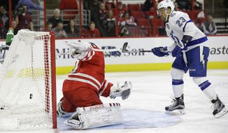 Tampa Bay Lightning's J.T. Brown (23) scores against Carolina Hurricanes goalie Cam Ward during the second period of an NHL hockey game in Raleigh, N.C., Sunday, Feb. 21, 2016. (AP Photo/Gerry Broome)