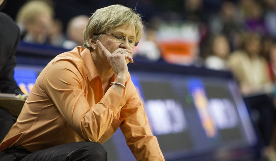 Tennessee head coach Holly Warlick looks on during the second half of an NCAA college basketball game on Monday, Jan. 18, 2016, in South Bend, Ind.  (AP Photo/Robert Franklin)