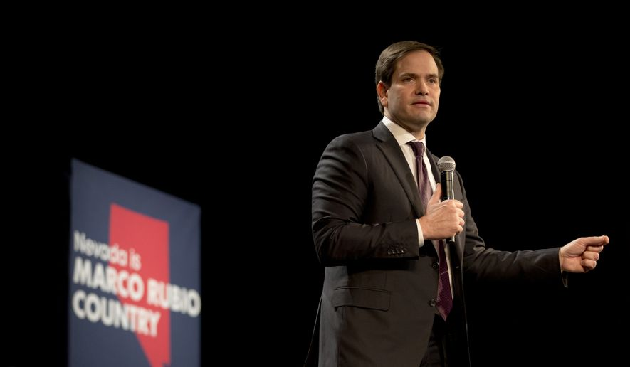 Sen. Marco Rubio, Florida Republican and 2016 presidential candidate, speaks at a rally in North Las Vegas, Nevada, on Feb. 21, 2016. (Associated Press)