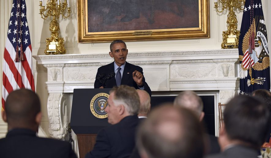President Barack Obama speaks during a meeting with governors in the State Dining Room of the White House in Washington, Monday, Feb. 22, 2016. (AP Photo/Susan Walsh)