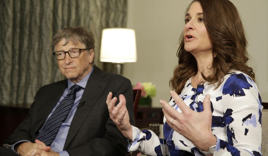 Bill and Melinda Gates talk to reporters about the 2016 annual letter from their foundation, the Bill and Melinda Gates Foundation, in New York, Monday, Feb. 22, 2016. The couple, co-chairs of the largest private foundation in the world, has made a tradition of releasing an annual letter on philanthropy. This year's edition, released Monday, called on the young to be a driving force for innovation and change. (AP Photo/Seth Wenig)