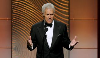 "In this June 16, 2013, file photo, ""Jeopardy!"" game show host Alex Trebek appears at the 40th Annual Daytime Emmy Awards in Beverly Hills, Calif. (Photo by Chris Pizzello/Invision/AP, File) **FILE**"