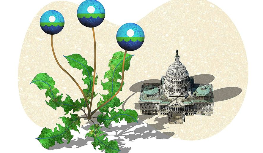 Illustration on the untoward influence of the EPA on U.S. economic and energy policies by Greg Groesch/The Washington Times