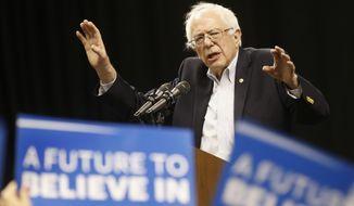 Democratic presidential candidate, Sen. Bernie Sanders, I-Vt. speaks during a rally in Norfolk, Va., Tuesday, Feb. 23, 2016.  (AP Photo/Steve Helber)