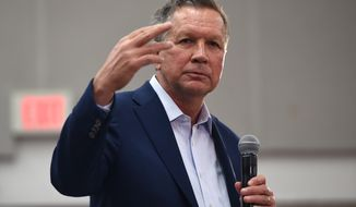Republican presidential candidate, Ohio Gov. John Kasich speaks during a Town Hall at George Mason University in Fairfax, Va., Monday, Feb. 22, 2016. (AP Photo/Molly Riley)