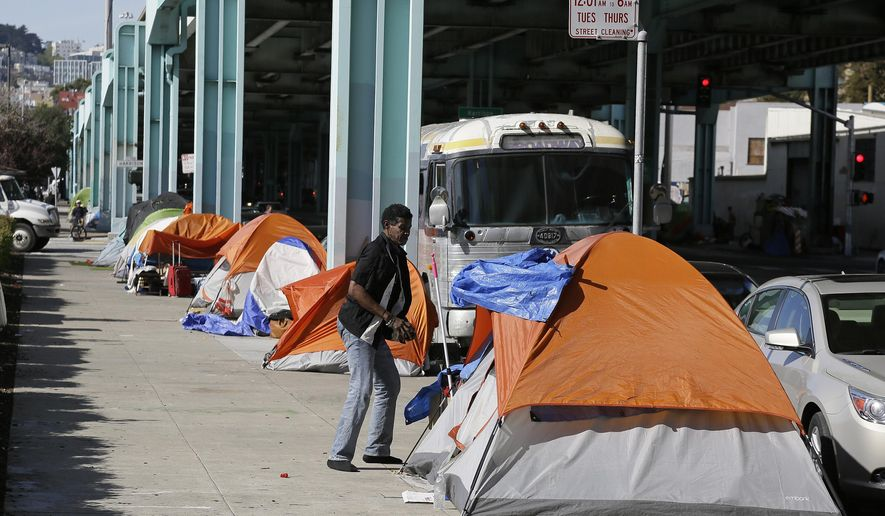 A man stand outside his tent on Division Street Tuesday, Feb. 23, 2016, in San Francisco. San Francisco health officials declared a tent city that has been growing along a city street a health hazard and gave homeless people living on the sidewalk 72 hours to clear the area. The Department of Public Health said notices declaring the area along Division Street a public nuisance and encouraging homeless people to move to city shelters would be posted Tuesday. (AP Photo/Eric Risberg)