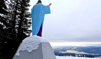 """Thanks to a court decision, """"Big Mountain Jesus' remains on a Montana ski slop. (Becket Fund)"""