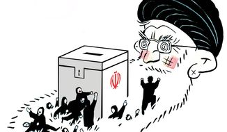Illustration on the mullahs domination of the election process in Iran by Alexander Hunter/The Washington Times