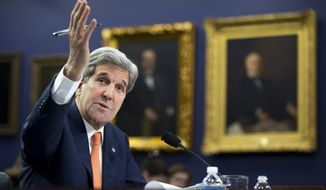 Secretary of State John Kerry testifies on Capitol Hill in Washington, Wednesday, Feb. 24, 2016, before the House Appropriations Committee on Foreign Operations hearing on the State Department's fiscal 2017 budget request.  (AP Photo/Manuel Balce Ceneta)