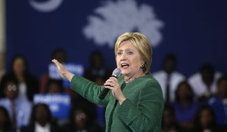 Democratic presidential candidate Hillary Clinton speaks at a campaign event at Morris College in Sumter, S.C., Wednesday, Feb. 24, 2016. (AP Photo/Gerald Herbert)