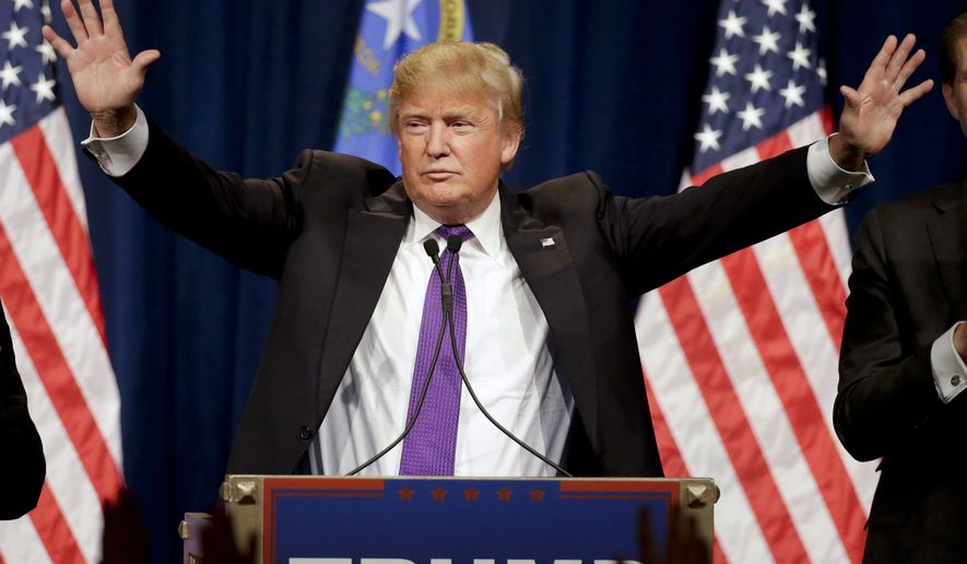 Republican presidential candidate Donald Trump speaks during a caucus night rally Tuesday, Feb. 23, 2016, in Las Vegas. (AP Photo/Jae C. Hong)