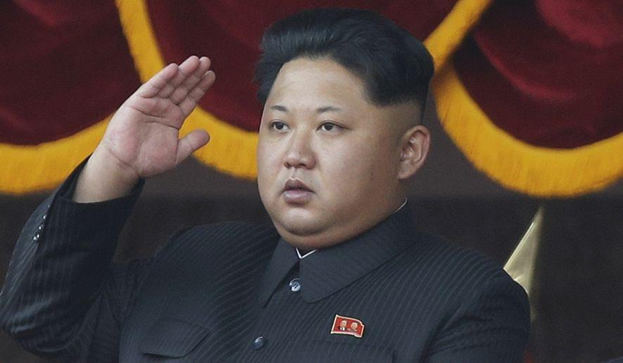 North Korean leader Kim Jong-un salutes at a parade in Pyongyang on Oct. 10, 2015. (Associated Press)