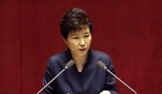 South Korean President Park Geun-hye delivers a speech at the National Assembly in Seoul, South Korea, in this Tuesday, Feb. 16, 2016, file photo. (AP Photo/Lee Jin-man)