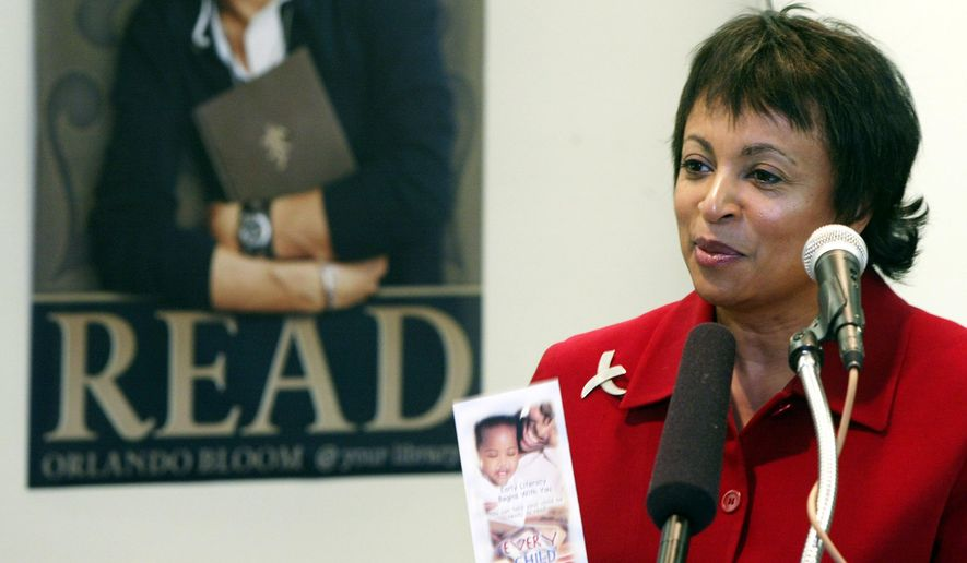 FILE - In this Feb. 25, 2004 file photo, Carla Hayden speaks in Seattle. President Barack Obama has nominated Hayden, the longtime head of Baltimore's library system as the next Librarian of Congress. (AP Photo/Ted S. Warren, File)