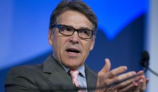 Former Texas Gov. Rick Perry speaks at an event in Washington on Sept. 25, 2015. (Associated Press) **FILE**