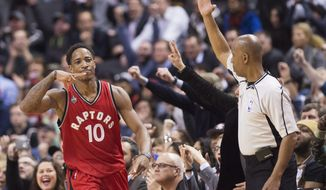 Toronto Raptors guard DeMar DeRozan (10) reacts after sinking a three point shot against the Minnesota Timberwolves during the second half of an NBA basketball game, Wednesday, Feb. 24, 2016 in Toronto. (Nathan Denette/The Canadian Press via AP) MANDATORY CREDIT