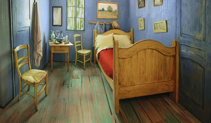 This Monday, Feb. 8, 2016, file photo provided by The Art Institute of Chicago shows a Chicago apartment decorated to look like Vincent van Gogh's painting of his bedroom in the south of France. (Art Institute of Chicago via AP, File)