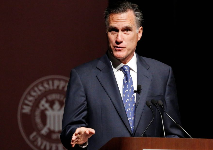 """Former GOP presidential candidate Mitt Romney said front-runner Donald Trump should turn over his tax returns, and made reference to a """"bombshell"""" awaiting therein. Mr. Trump endorsed Mr. Romney in 2012. (Associated Press) ** FILE **"""