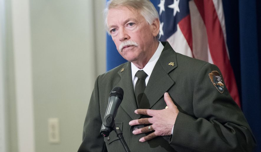 National Park Service Director Jonathan Jarvis speaks at a signing ceremony for a memorandum of agreement to establish the Manhattan Project National Historic Park, Tuesday, Nov. 10, 2015, at the Interior Department in Washington. (AP Photo/Sait Serkan Gurbuz)