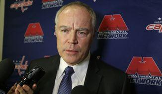 Washington Capitals general manager Brian MacLellan speaks before an NHL hockey game against the New York Islanders Thursday, Jan. 7, 2016, in New York. (AP Photo/Frank Franklin II)