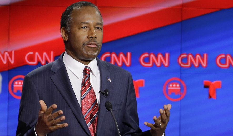 Republican presidential candidate, retired neurosurgeon Ben Carson speaks during a Republican presidential primary debate at The University of Houston, Thursday, Feb. 25, 2016, in Houston. (AP Photo/David J. Phillip)