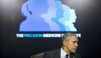 Then-President Barack Obama on stage during a panel discussion as part of the White House Precision Medicine Initiative (PMI) in the South Court Auditorium in the Eisenhower Executive Office Building on the White House complex in Washington, Thursday, Feb. 25, 2016. (AP Photo/Pablo Martinez Monsivais) ** FILE **