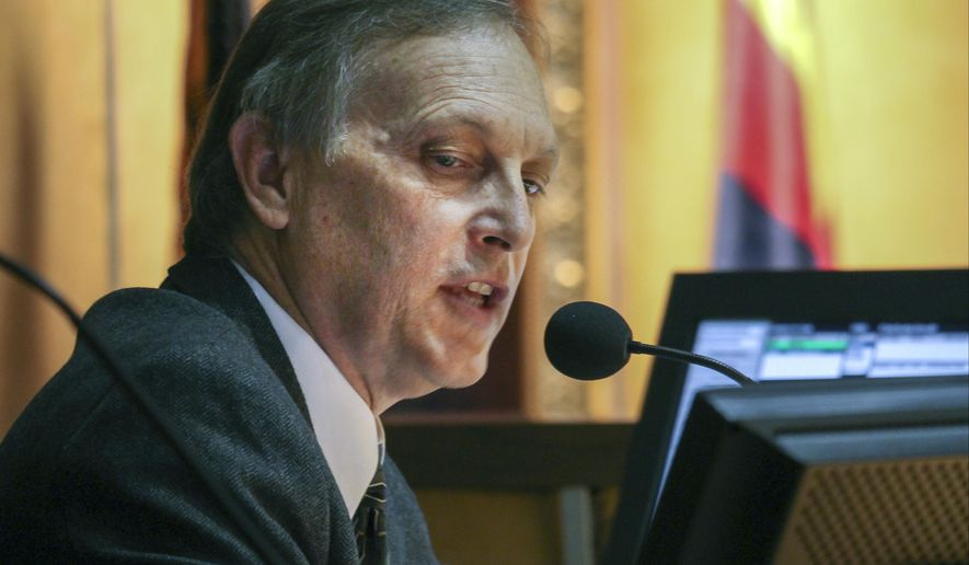 In this Oct. 30, 2015, file photo, Arizona Senate President Andy Biggs presides over voting that approved a 10-year, $3.5 billion school funding package in Phoenix. Arizona Rep. Matt Salmon said Thursday, Feb. 25, 2016, that he will not seek re-election this November, and he's endorsing Biggs for his seat. (AP Photo/Bob Christie, File)