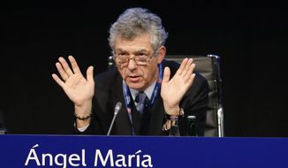 Angel Maria Villar Llona chairs a UEFA meeting in Zurich, Switzerland, Thursday, Feb. 25, 2016. The Sepp Blatter era at FIFA is set to finally end Friday, Feb. 26, 2016 when soccer's scandal-scarred world body picks a new president after nine months of crisis. (AP Photo/Michael Probst)