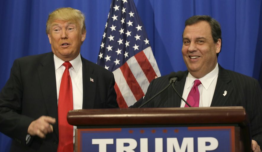Republican presidential candidate Donald Trump stands with New Jersey Gov. Chris Christie before a rally in Fort Worth, Texas, Friday, Feb. 26, 2016. (AP Photo/LM Otero)