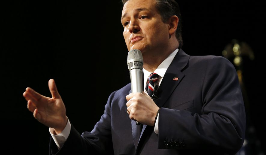 Republican presidential candidate, Sen. Ted Cruz, R-Tx., gestures during an appearance at Regent University in  Virginia Beach, Va., Friday, Feb. 26, 2016. (AP Photo/Steve Helber)