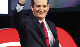 Republican presidential candidate, Sen. Ted Cruz, R-Texas, walks onto the stage during the Republican Presidential Primary Debate at the University of Houston Thursday, Feb. 25, 2016. (AP Photo/Houston Chronicle, Gary Coronado, Pool) MANDATORY CREDIT