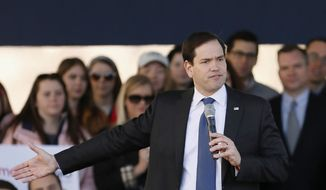 Republican presidential candidate, Sen. Marco Rubio, R-Fla. speaks during a rally, Friday, Feb. 26, 2016, in Dallas. (AP Photo/Brandon Wade)