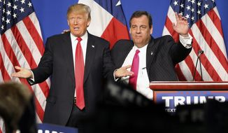 New Jersey Gov. Chris Christie, right, introduced Republican presidential candidate Donald J. Trump after endorsing him before a rally at the Fort Worth Convention Center in Fort Worth,Texas, Friday, Feb. 26, 2016. Christie backed Trump in the Republican race for president Friday, a powerhouse endorsement as the billionaire tries to beat back assaults on his character from a newly aggressive rival, Marco Rubio. (Tom Fox/The Dallas Morning News via AP)New Jersey Governor Chris Christie (right) introduced Republican presidential candidate Donald J. Trump after endorsing him before a rally at the Fort Worth Convention Center in downtown Fort Worth, Friday, February 26, 2016. Trump is campaigning in Texas ahead of the Super Tuesday elections next week.  (Tom Fox/The Dallas Morning News) MANDATORY CREDIT; MAGS OUT; TV OUT; INTERNET USE BY AP MEMBERS ONLY; NO SALES