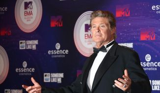 Actor David Hasselhoff poses for photographers upon arrival at the 2014 MTV European Music Awards in Glasgow, in this Nov. 9, 2014, file photo. (Photo by Joel Ryan/Invision/AP, File)