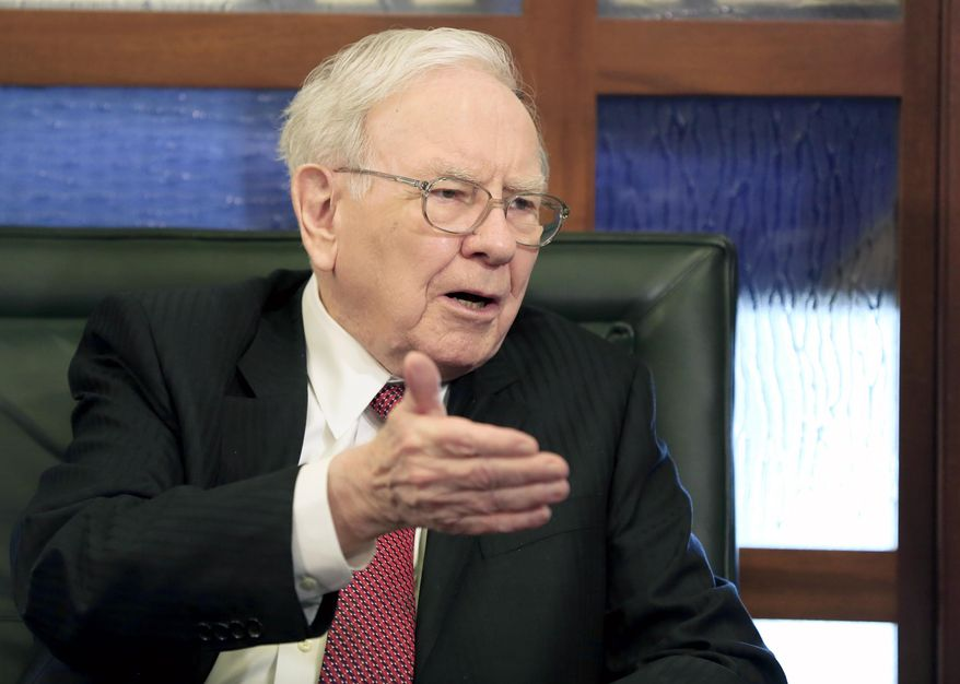 Berkshire Hathaway Chairman and CEO Warren Buffett speaks during an interview with Liz Claman on the Fox Business Network in Omaha, Neb. (AP Photo/Nati Harnik, File)