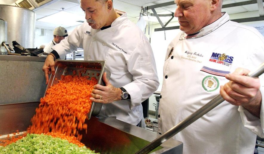 This Feb. 11, 2016, photo shows chefs Richard Younger, left, and Wolfgang Geckeler, who are part of a  group of 50 area professional chefs that volunteer their time to prepare soup in the kitchen of the Atlantic City Rescue Mission.  The chefs hope to reach a goal of preparing over 50,000 bowls of soup in 2016 for  Bowls for Hearts and Souls program. (Viviana Pernot/The Press of Atlantic City via AP)