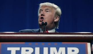 FILE - In this Feb. 26, 2106 file photo, Republican presidential candidate Donald Trump speaks in Fort Worth, Texas. Fear and loathing strikes congressional Republicans faced with the distinct possibility of Donald Trump as their presidential nominee.  (AP Photo/LM Otero, File)