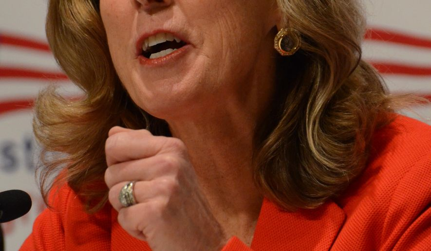 Katie McGinty, a candidate for the Democratic Party's nomination for U.S. Senate in Pennsylvania, speaks at the Keystone Progress Summit, Friday, Feb. 19, 2016, in Harrisburg, Pa. McGinty, a former top-level environmental official to President Bill Clinton and Gov. Ed Rendell, also served as chief of staff to Gov. Tom Wolf after running unsuccessfully for governor in 2014. (AP Photo/Marc Levy)