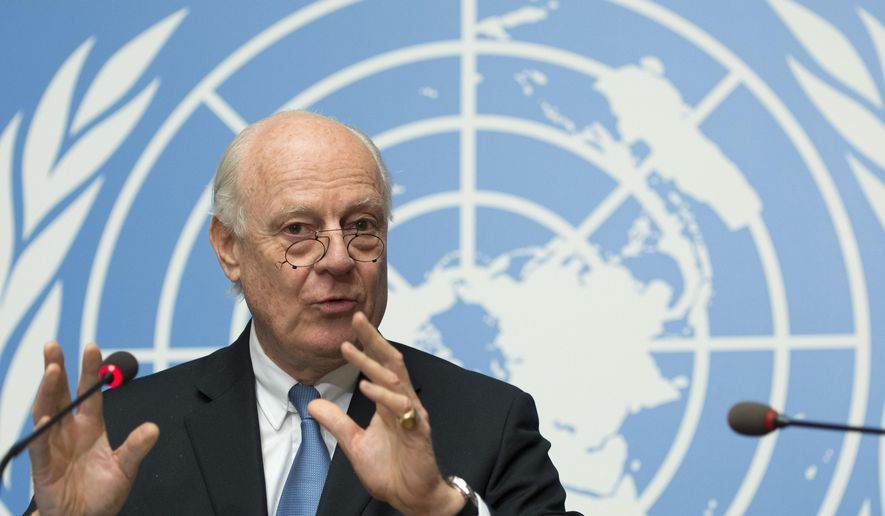 "Staffan de Mistura, UN Special Envoy of the Secretary-General for Syria, speaks during a press conference about the beginning of a cessation of hostilities in Syria and the next talks scheduled in Geneva between the government and the opposition, at the European headquarters of the United Nations, in Geneva, Switzerland, late Friday, Feb. 26, 2016. De Mistura plans to resume peace talks on March 7 if the cessation of hostilities coming into effect at midnight local time ""largely holds."" (Martial Trezzini/Keystone via AP))"