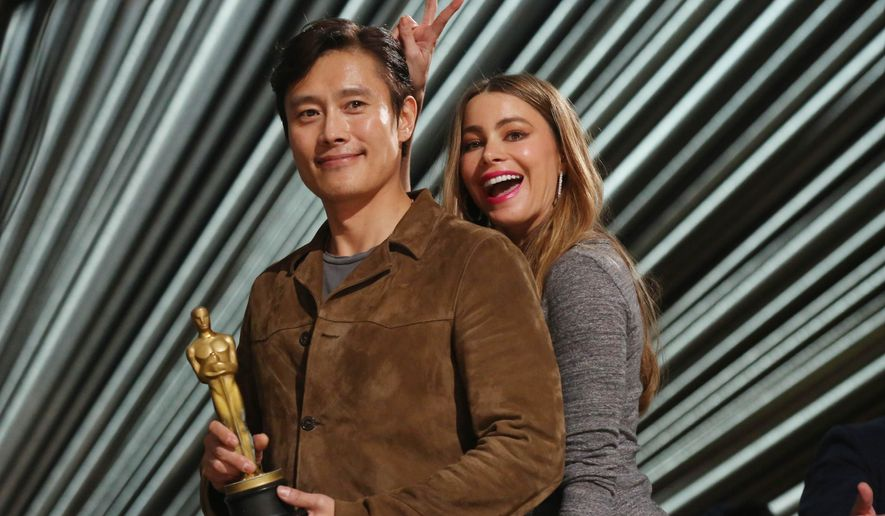 Sofia Vergara, right, and Byung-hun Lee appear during rehearsals for the 88th Academy Awards in Los Angeles, Saturday, Feb. 27, 2016. The Academy Awards will be held at the Dolby Theatre on Sunday, Feb. 28. (Photo by Matt Sayles/Invision/AP)