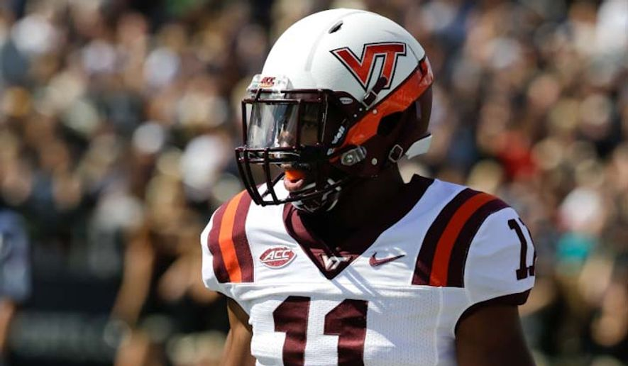 Virginia Tech's Kendall Fuller (11) in action during the first half of an NCAA college football game against Purdue, Saturday, Sept. 19, 2015 in West Lafayette, Ind. (AP Photo/Darron Cummings)