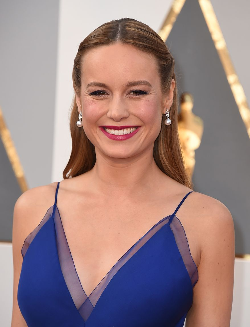 """""""I grew up with a single mom in a small apartment, and I realize this was a way to [honor] my mother,"""" best actress nominee Brie Larson said on the Oscars red carpet. (Associated Press)"""