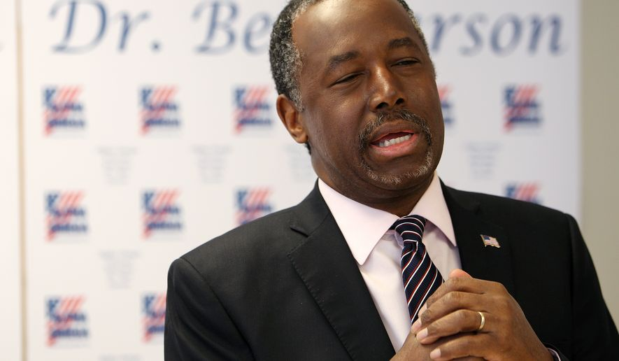 Presidential candidate Dr. Ben Carson speaks to a small gathering of media during a visit to Alpha Omega Veterans Services on Sunday, Feb. 28, 2016. (Mike Brown/The Commercial Appeal via AP)