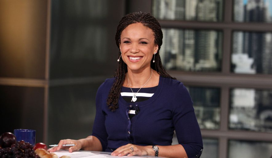 In this Feb. 18, 2012, file photo, provided by MSNBC, Melissa Harris-Perry appears on the set of her self-titled show in New York. (Heidi Gutman/MSNBC via AP, File)