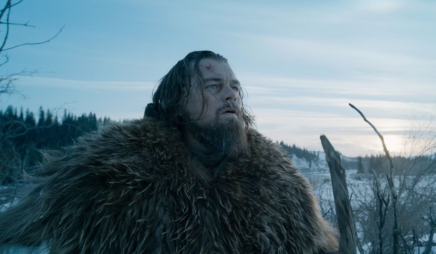 """This photo provided by courtesy of  Twentieth Century Fox shows, Leonardo DiCaprio as Hugh Glass, in a scene from the film, """"The Revenant.""""  The film is nominated for an Oscar for best picture. DiCaprio is also nominated for best actor for his role in the film. The Oscars will be presented on Feb. 28, 2016, in Los Angeles. (Courtesy Twentieth Century Fox via AP)"""