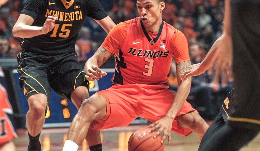 Illinois guard Khalid Lewis (3) drives past Minnesota guard Stephon Sharp (15) in the first half of an NCAA college basketball game at the State Farm Center in Champaign, Ill., on Sunday, Feb. 28, 2016. (AP Photo/Rick Danzl)