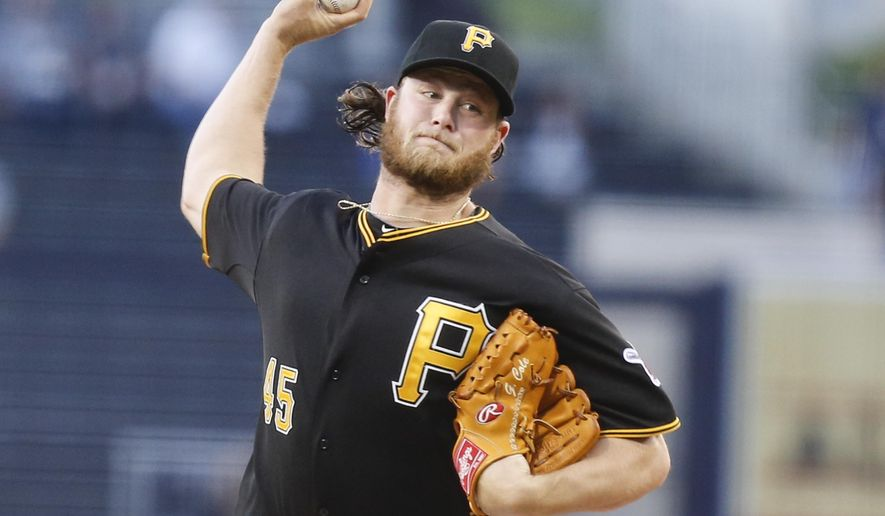 FILE - In this June 3, 2014, file photo, Pittsburgh Pirates starting pitcher Gerrit Cole throws against the San Diego Padres in the first inning of a baseball game in San Diego. Pirates general manager Neal Huntington on Sunday, Feb. 28, 2016, acknowledged the team erroneously computed Cole's salary offer for 2016, which led to a public spat with their ace pitcher. (AP Photo/Lenny Ignelzi, File)