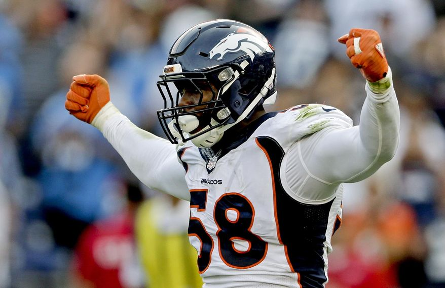 FILE - In this Sunday, Dec. 6, 2015, file photo, Denver Broncos outside linebacker Von Miller celebrates a sack against the San Diego Chargers during the second half of an NFL football game in San Diego. The NFL's salary cap for 2016 will be $155.27 million, an increase of nearly $12 million. Among the players whose contracts have expired and might wind up getting tagged are Super Bowl MVP Miller, and other All-Pros such as Carolina cornerback Josh Norman, Tampa Bay running back Doug Martin and Kansas City safety Eric Berry. (AP Photo/Gregory Bull, File)