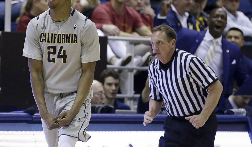 California's Jordan Mathews (24) celebrates a score against Southern California in the second half of an NCAA college basketball game Sunday, Feb. 28, 2016, in Berkeley, Calif. (AP Photo/Ben Margot)